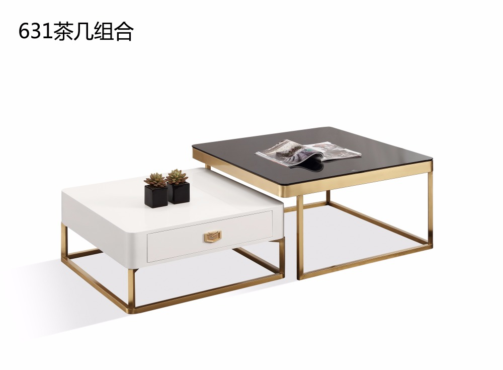 0608CJ631 Tempered glass surface stainless steel gold plated chassis frame combination tea coffee table solid wood drawer