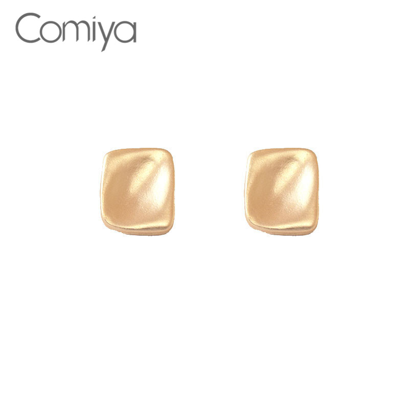 Comiya Stud Earrings For Women Cute Gold Silver Color Alloy Korean Earring For Woman Square Accessories Charms Mujer Bijoux