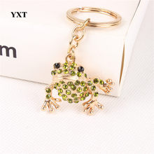 Lovely Frog Cute Animal Crystal Pendant Charm Purse Handbag Car Key Keyring Keychain Party Favorite Gift Accessories(China)