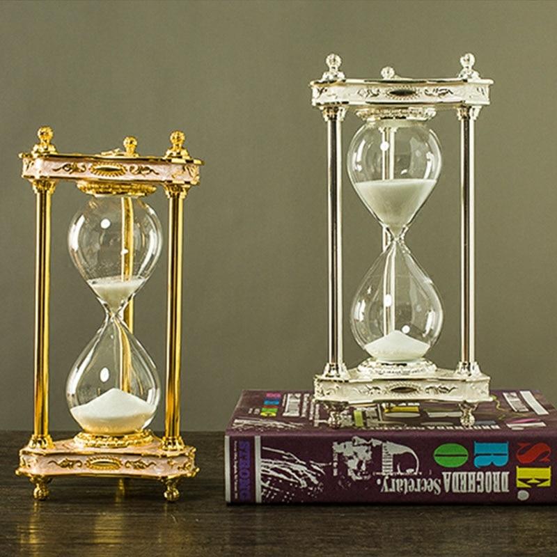 Temporizador de reloj de arena europeo 30 min reloj de arena metal + reloj de arena decorativo de cristal arena reloj de arena para el hogar/Oficina decoración A07-1