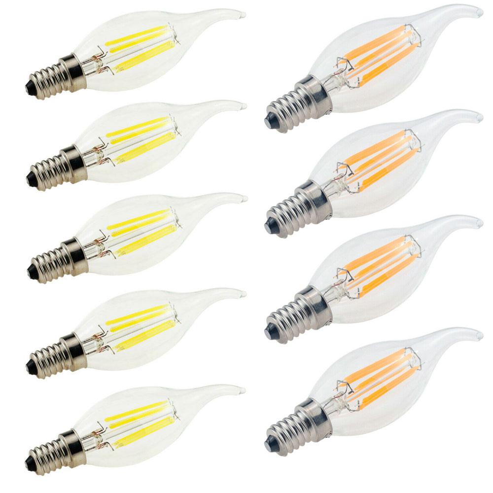 Светодиодная лампа Эдисона C35/C35L с регулируемой яркостью, E14, 2 Вт, 4 Вт, 6 Вт, 220 В, 10 шт.