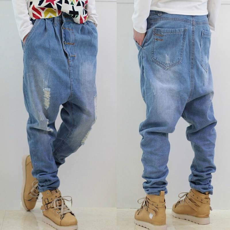 Men Baggy Blue Ripped   Jeans   Male Loose Low drop Crotch Harem Pants HipHop street dance Trouser Men hanging crotch Joggers A60302