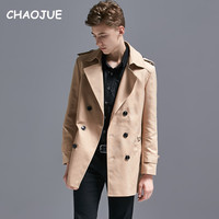 CHAOJUE Men High end Trench Coat Customize Top Quality British Slim Double Breasted Trenchcoat Male 6XL Big Pea Coat On Sales