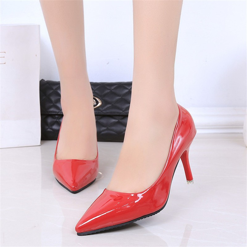 2016 Fashion Hot sale 5 colors PU Leather Pointed Toe High Heels Sexy shoes Office Shoes Women\'s Pumps HSB06 (7)