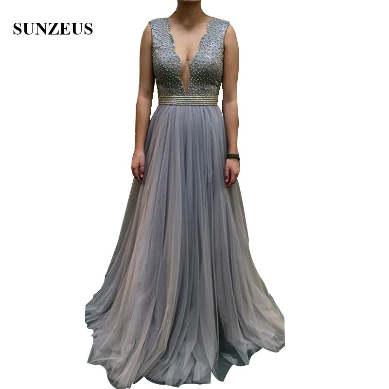 Sexy Deep V-neck   Bridesmaids     Dresses   2019 Lace Wedding Party   Dress   With Pearls Long Grey Tulle Formal Gowns Open Back