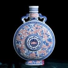 enamel in red moon Fushou bottle of Jingdezhen antique arts and crafts style living room decoration porcelain vase