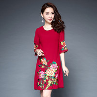 2018 Spring Newest Embroidery Women Elegant Floral Dress High Quality Half Sleeve Above Knee Mini Slim