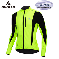 MILOTO Men's Winter Thermal Windproof Cycling Jacket Waterproof Outdoor Sports Clothing Thermal Fleece MTB Bike Bicycle Jersey