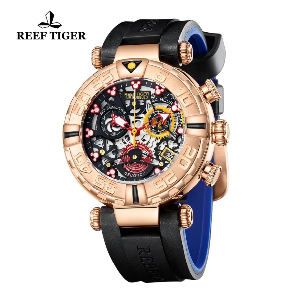 Reef Tijger/RT Top Merk Mens Sport Horloges Chronograaf Rose Gold Skeleton Horloges 100M Waterdicht reloj hombre masculino RGA3059-in Quartz Horloges van Horloges op  Groep 3