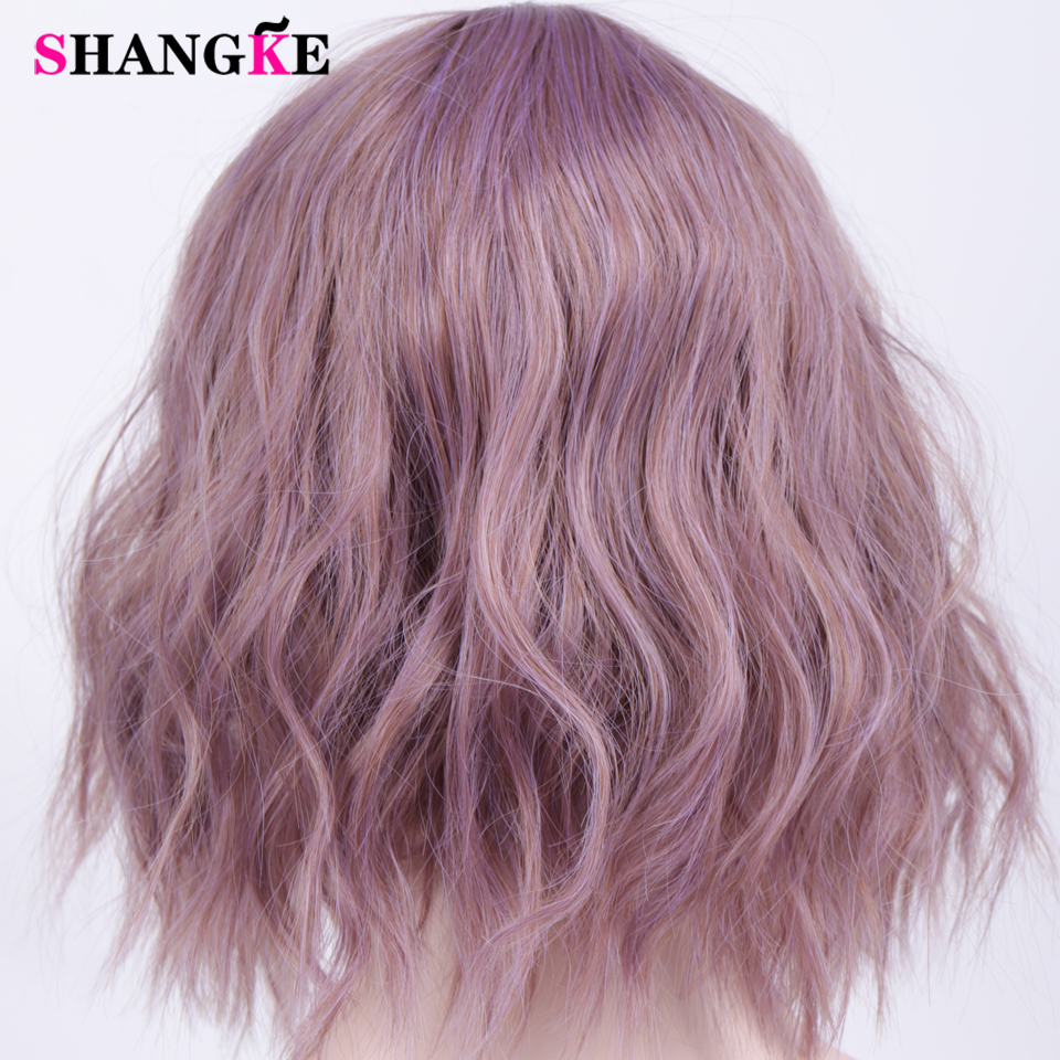 HTB1OWNeVbPpK1RjSZFFq6y5PpXaX - Short Water Wave Synthetic Hair Mixed Purple and pink Wigs Available Cosplay Wig For Women Heat Resistant Fiber Daily Bob Wig