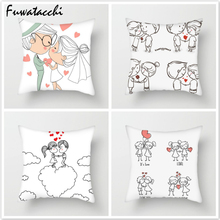 Fuwatacchi Cartoon Couple Cushion Cover Throw Pillows for Sofa Lover Printed Pillow Chair Decorative Pillowcase