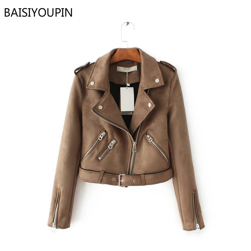 British Style 2019 Spring Autumn Zipper   Suede   Faux   Leather   Short Jackets Women Motorcycle Ladies Basic Street Coat With Sashes
