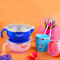 Baby Storage Containers Eating Stainless Steel Baby Bowl Contenedor Anti Spill Bowl Learning Chart Baby Heated Bowl 50R001