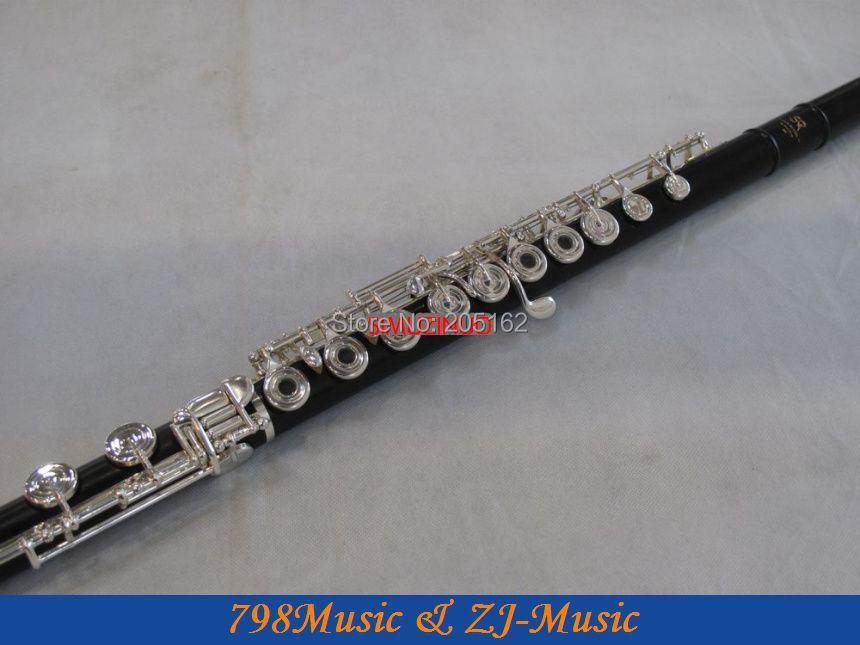 PROFESSIONAL Ebony Wood Grenadilla Flute-B foot-Open Hole-Split-E-Inline-G-Silver Plated-American Headjoint-NO.2