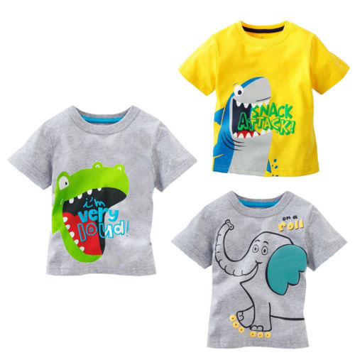 T-Shirt Cartoon Dinosaur Clothing Animal Short-Sleeved Kids Children's Summer Shark Crocodile
