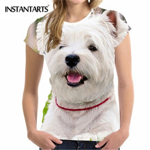 INSTANTARTS odzież damska wygodne damskie t-shirt z krótkim rękawem 3D śliczne z nadrukiem z psem West Highland White Terrier letni t-shirt tanie tanio Kobiety Topy Tees REGULAR Poliester COTTON O-neck NONE Suknem Women T shirt BV Na co dzień Zwierząt Women Summer Short Sleeved T-shirt