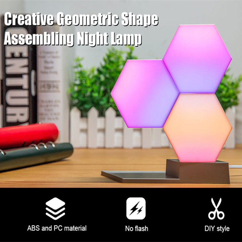 Lifesmart Creative Geometry Assembly Night Lamp LED Spliced Quantum Night Light Dimmable Ambient Decorative Lamps Remote ControlLifesmart Creative Geometry Assembly Night Lamp LED Spliced Quantum Night Light Dimmable Ambient Decorative Lamps Remote Control
