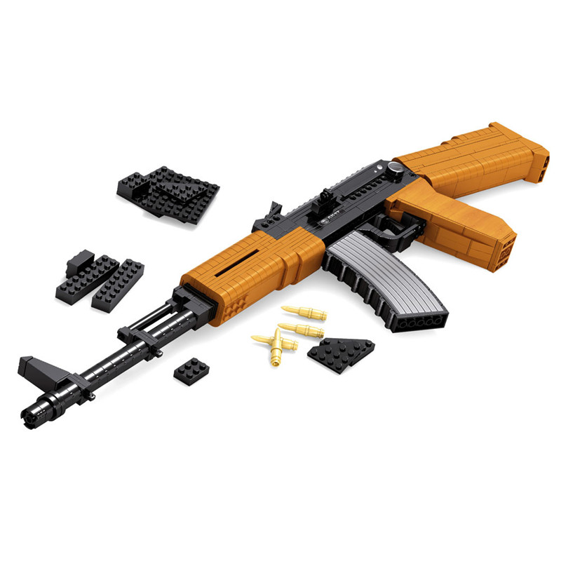 Ausini PUBG AK47 mechanical Educational Military Model Toys Building Blocks Sets Bricks Model Classic Kids boy Toys For Children dayan gem vi cube speed puzzle magic cubes educational game toys gift for children kids grownups