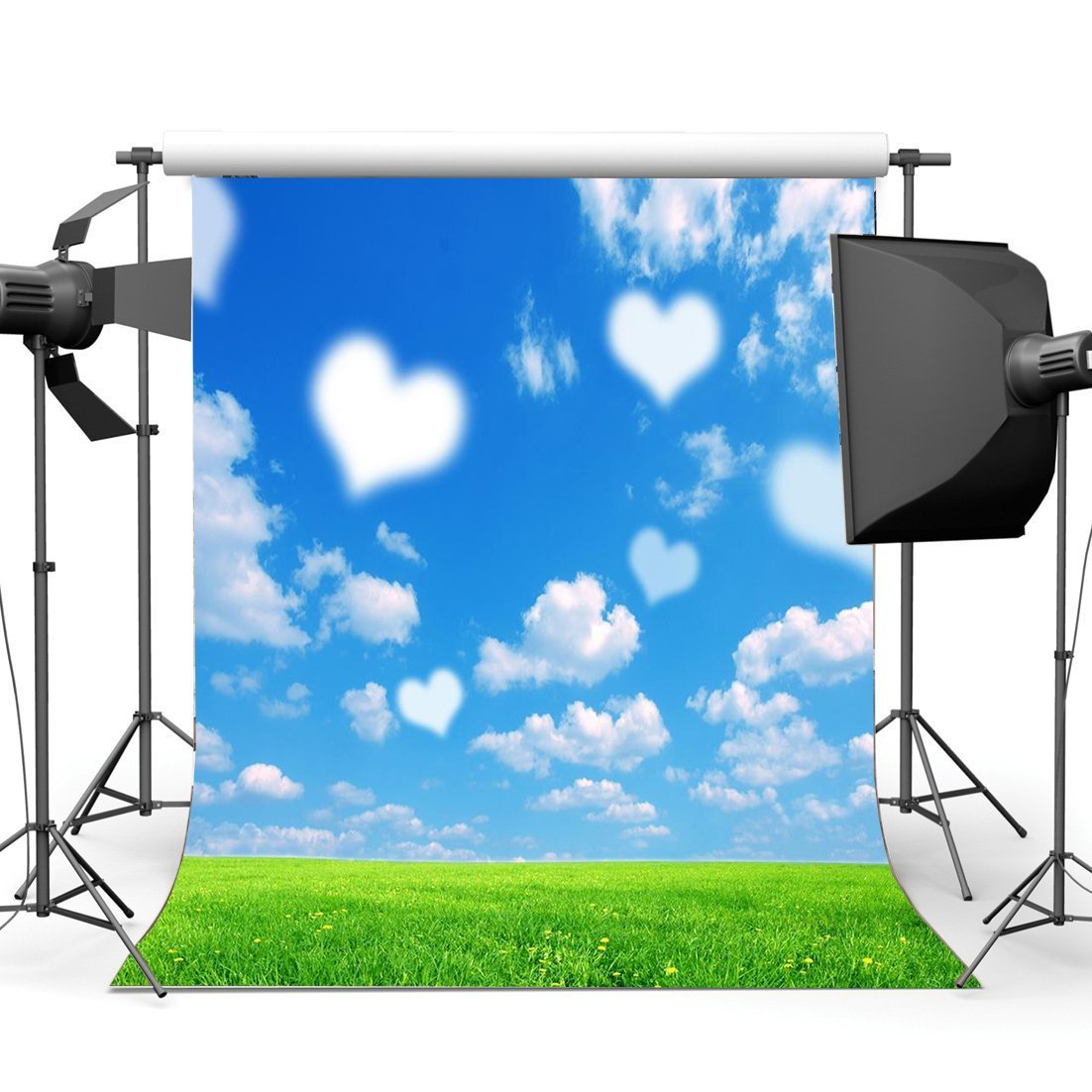 Blue Sky White Cloud hearts sky Grass Lawn Valentines Day Background Vinyl cloth High quality Computer print wall backdrops