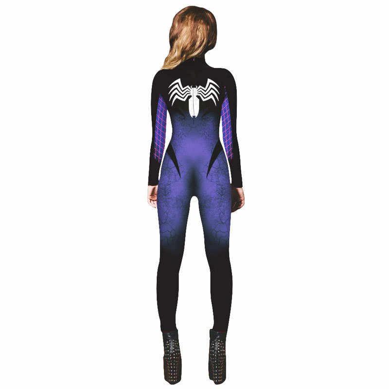 Комбинезон для косплея Человека-паука, черные боди, Веном, Человек-паук, костюм на Хэллоуин для женщин, Веном, Спайдермен, Женская искусственная кожа, зентай