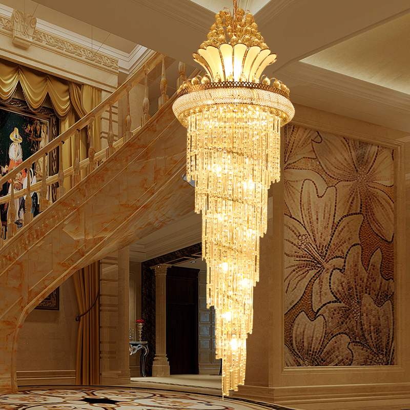 Large K9 Crystal Chandelier Light Modern Luxury Led Chandelier Lighting Lustres Chandeliers Hotel Villa Lobby Stair zyy modern k9 crystal gu10 led stainless steel chandelier luxury double spiral ceiling light for stair hotel villa lighting