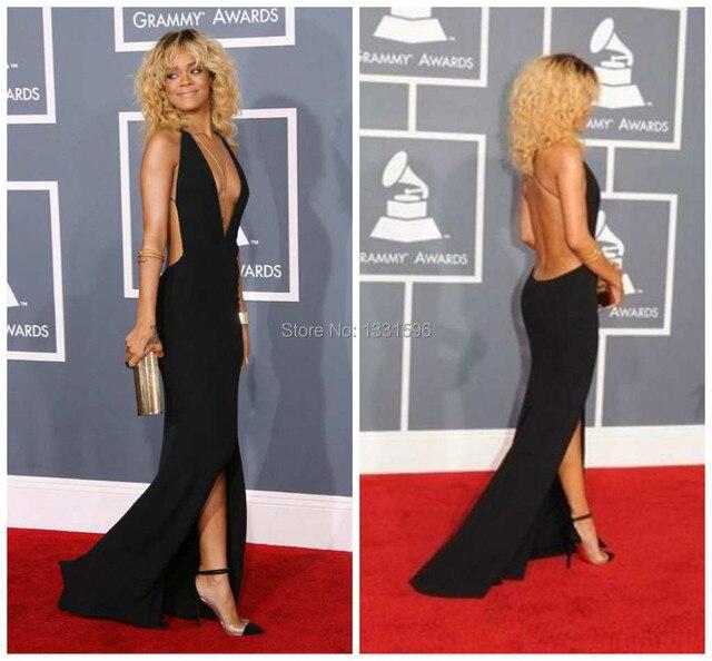 2017 New Selena Gomez Dress Vestido Grammy Awards Rihanna Sheath Sexy Deep V -neck Front Split Chiffon Backless Carpet Celebrity 14c762050