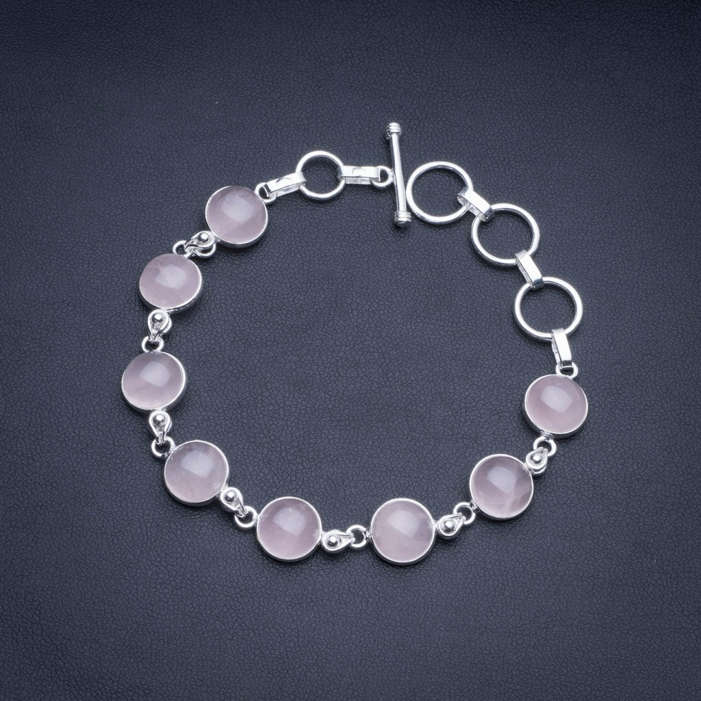 Natural Rose Quartz 925 Sterling Silver Tennis Bracelet 6 1/2-7 1/2 R2543Natural Rose Quartz 925 Sterling Silver Tennis Bracelet 6 1/2-7 1/2 R2543