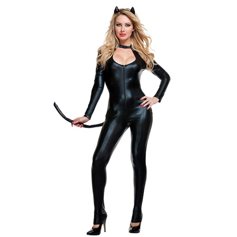 Buy New Stylish Women Hot Selling Sexy PVC Vinyl Wet Look Latex Bodysuits Jumpsuits Catwoman Faux Leather Catsuit Cosplay Costume