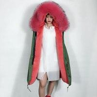 Для женщин большой натуральный мех енота воротник капюшон куртка без рукавов Армейский зеленый жилет с розовой меховой подкладкой зимний ж