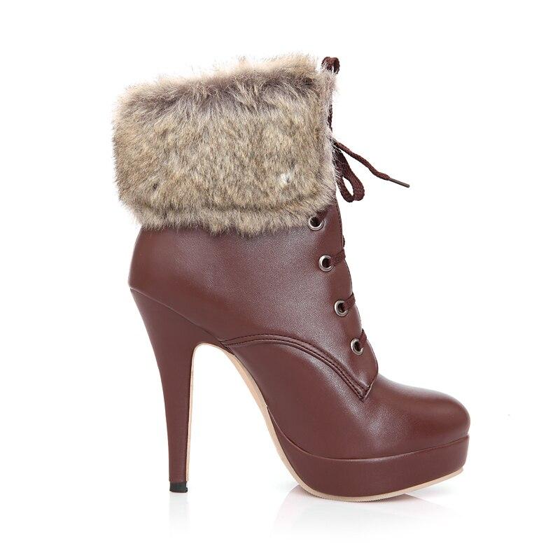 Enmayla High Heels Aprikoseschwarzbraun New Stiefel Fashion Zyl525 Damen Kunstpelz Stiefeletten Spitzschuh Damen Lace Up 2018 1TF3JclK