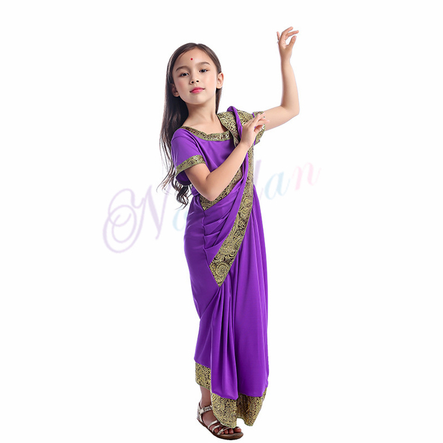 Indian Saree Party India Sari Dress Bollywood Girls Traditional Indian Clothes For Kids Children 5