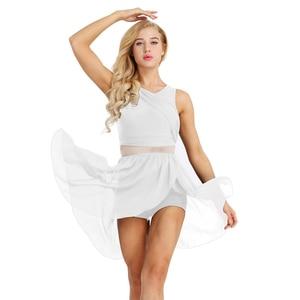 Image 2 - 여성 민소매 비대칭 쉬폰 발레 댄스 레오타드 드레스 성인 서정적 인 현대 무용 연습 의상