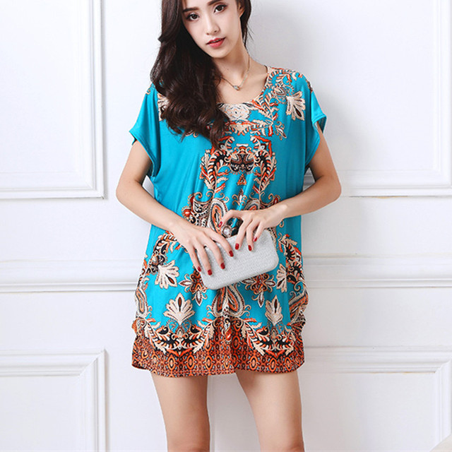 56344530ce1 2018 summer women casual print short sleeve t shirt tops   tees plus size  pullover loose lady fashion tunic geometric formal