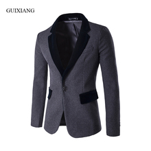 2017 new arrival spring and autumn style men woolen balzers fashion casual hit color neckline slim single button suit jacket