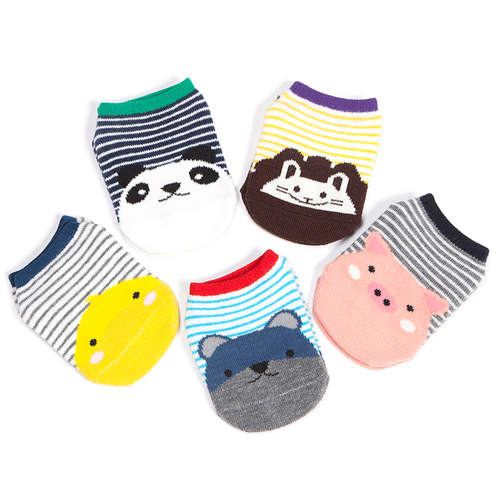 Newborn Infant Boy Girl Baby Socks Anti Slip Cotton Striped Print Animal Pig Lion Bear Panda Cute Short Socks