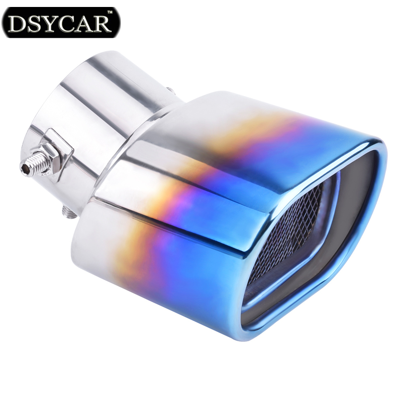 DSYCAR Universal Car Modification Stainless Steel Grilled blue Car Exhaust Pipe Tip Tail Muffler Exhaust pipe cover Car styling stylish stainless steel car exhaust pipe muffler tip for benz 320 350 500