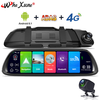 WHEXUNE New 2019 Car DVR GPS Navigator Camera 4G 10Android Stream Media Rear View Mirror FHD 1080P GPS Mirror Dash Cam Recorder