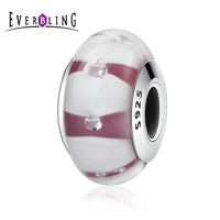 Everbling Jewelry Red Murano Glass 925 Sterling Silver Bead Fits European Charm Bracelet