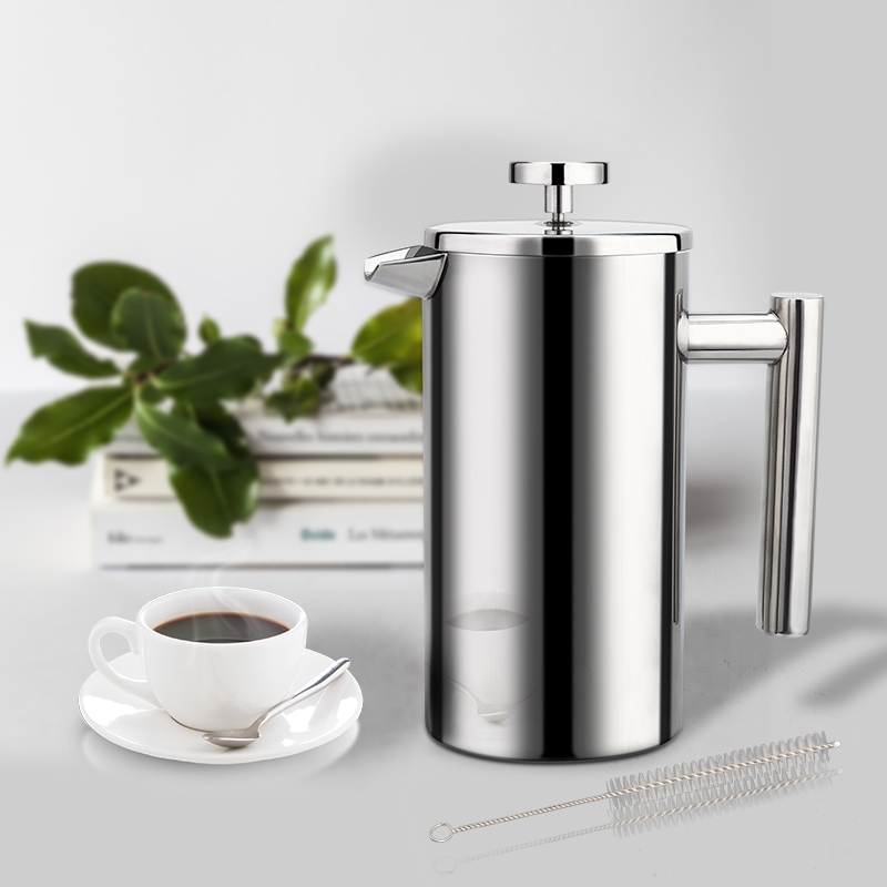Coffee Maker French Press Stainless Steel Espresso Coffee Machine High Quality Double Wall Insulated Coffee Tea Maker Pot 1000mlCoffee Pots   -