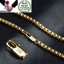 OMHXZJ Wholesale Personality Fashion Man Party Gift Gold Square Box Circles Chain 18KT Bracelet+Necklace Jewelry Set SE46