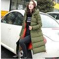 2016 Engrosamiento de Invierno de Las Mujeres Parkas Chaqueta de Algodón acolchado Wadded Prendas de Vestir Exteriores de Las Mujeres Medio-largo Abrigo Verde Del Ejército escudo TT1681