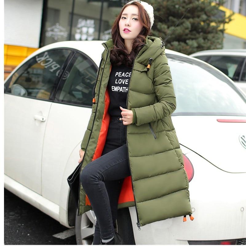 ФОТО 2016 Winter Thickening Women Parkas Women's Wadded Jacket Outerwear Cotton-padded Jacket Medium-long Coat Army Green Coat TT1681