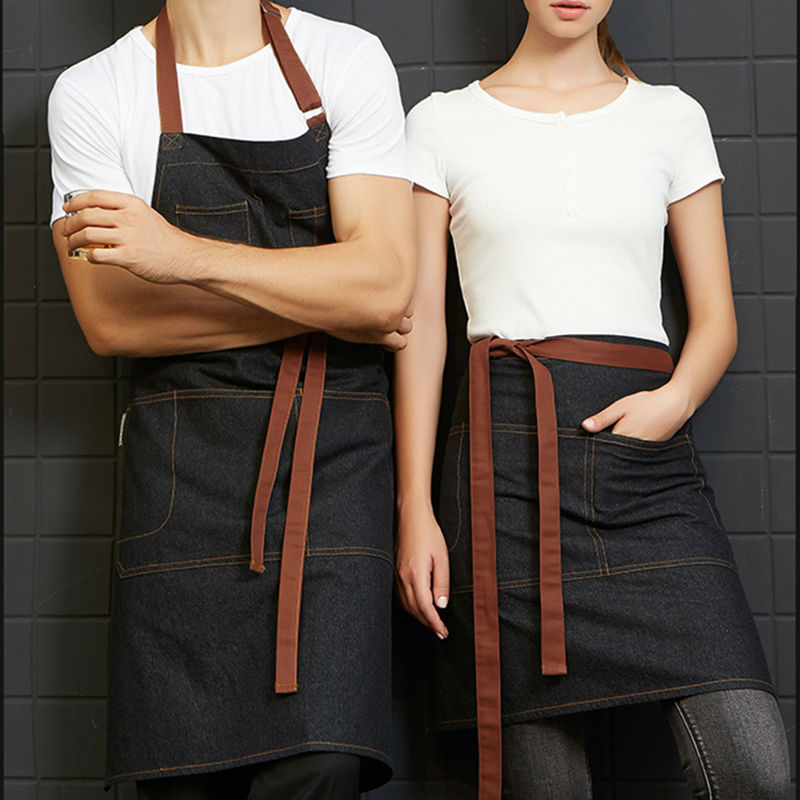 Half/Full Length Black Denim Bib Apron Barista Florist