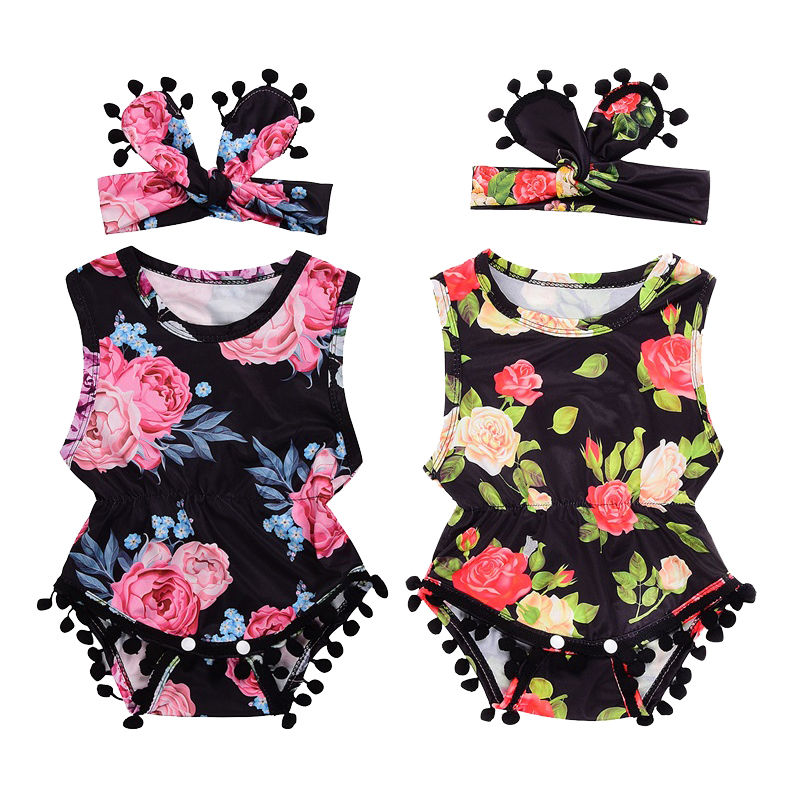 2017 Newborn Baby Girls Kids Floral Tassel Romper+Headband 2pcs Set Jumpsuit Playsuit Infant Summer Clothes Outfit Sunsuit 0-24M fashion 2pcs set newborn baby girls jumpsuit toddler girls flower pattern outfit clothes romper bodysuit pants