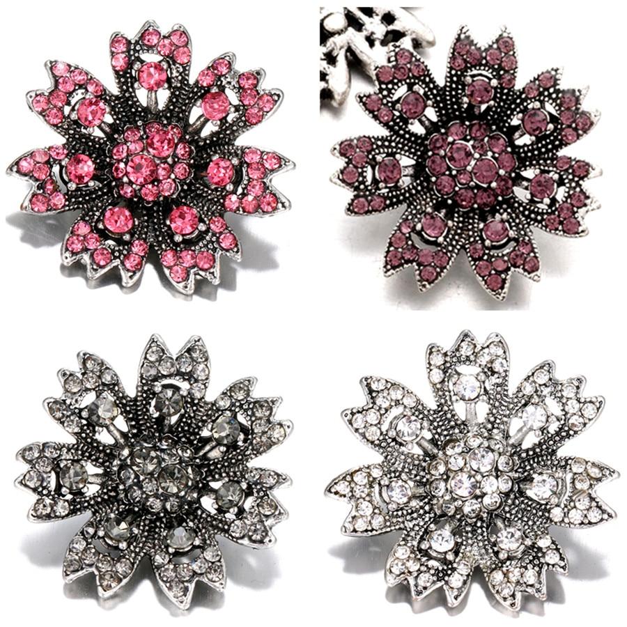 Новый KZ1419 Красота со стразами элегантный цветочный узор 28 мм кнопки fit Привязать браслет ювелирные изделия оптом