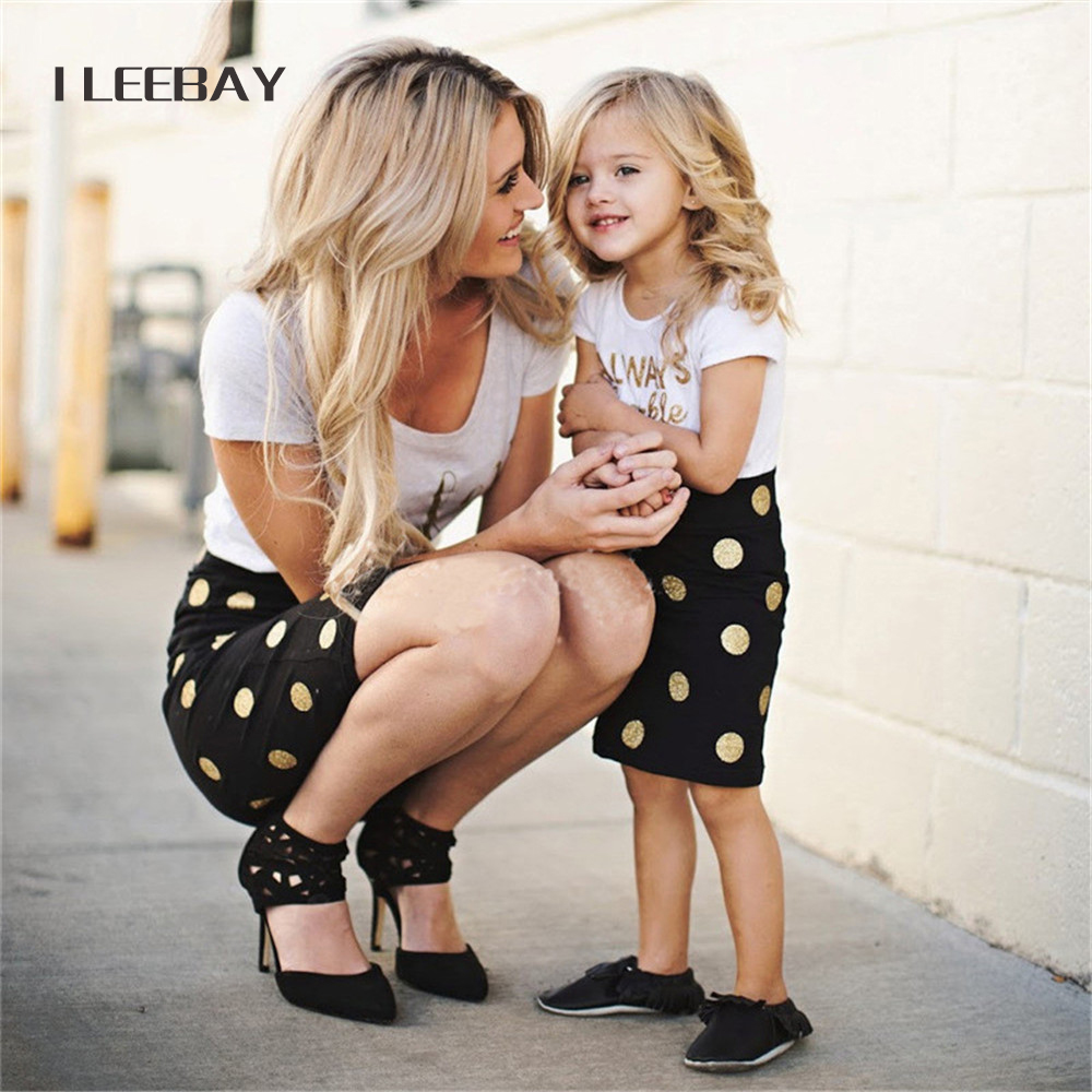 Summer New Family Matching Outfits Mother and Daughter Clothes Sets 2pcs Letter Print T-shirt Tops+Polka Pot Skirt Costume Suits