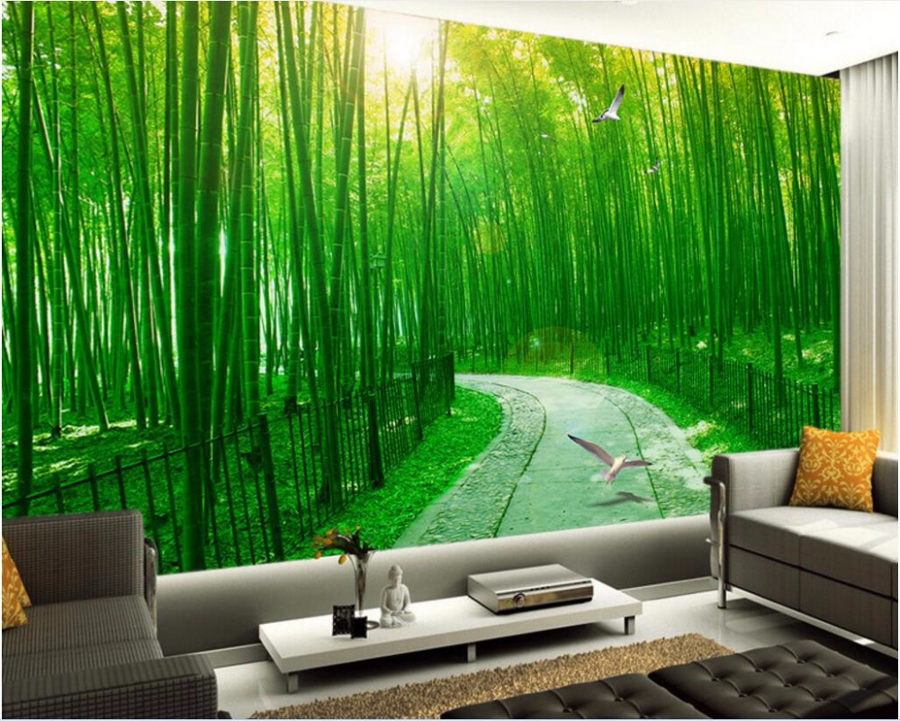 3d wallpaper home walls wallpaper home for Bamboo mural wallpaper