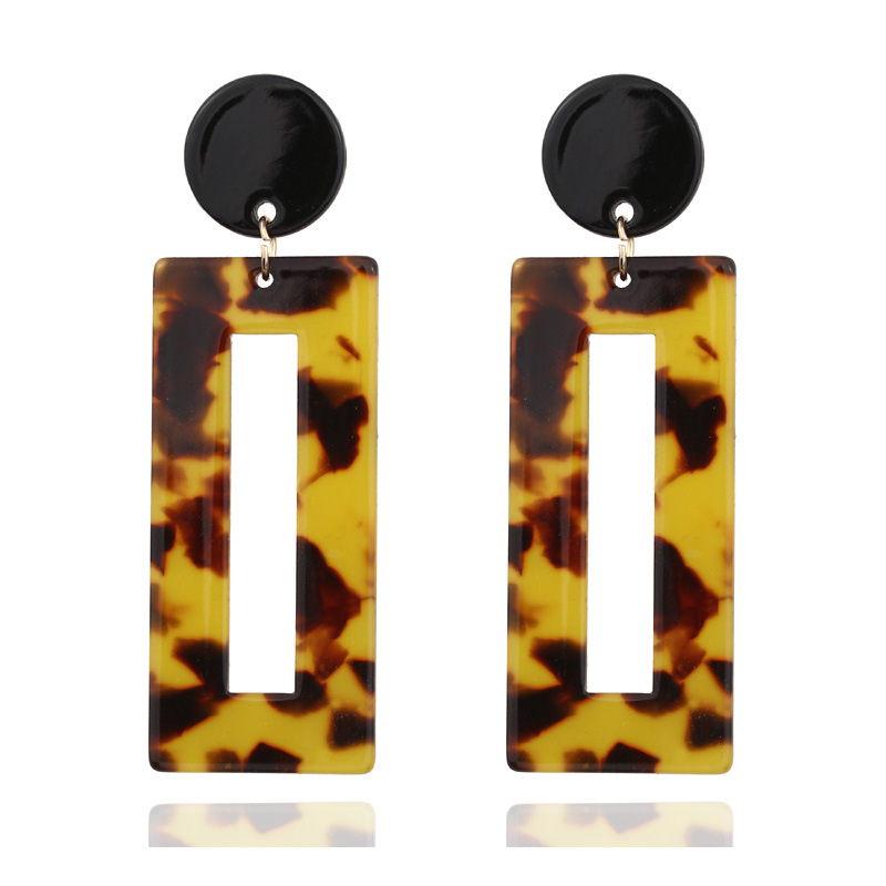 Fashion Vintage Acrylic Leopard Dangle Earrings For Women Multicolored Big Geometric Long Drop Earring
