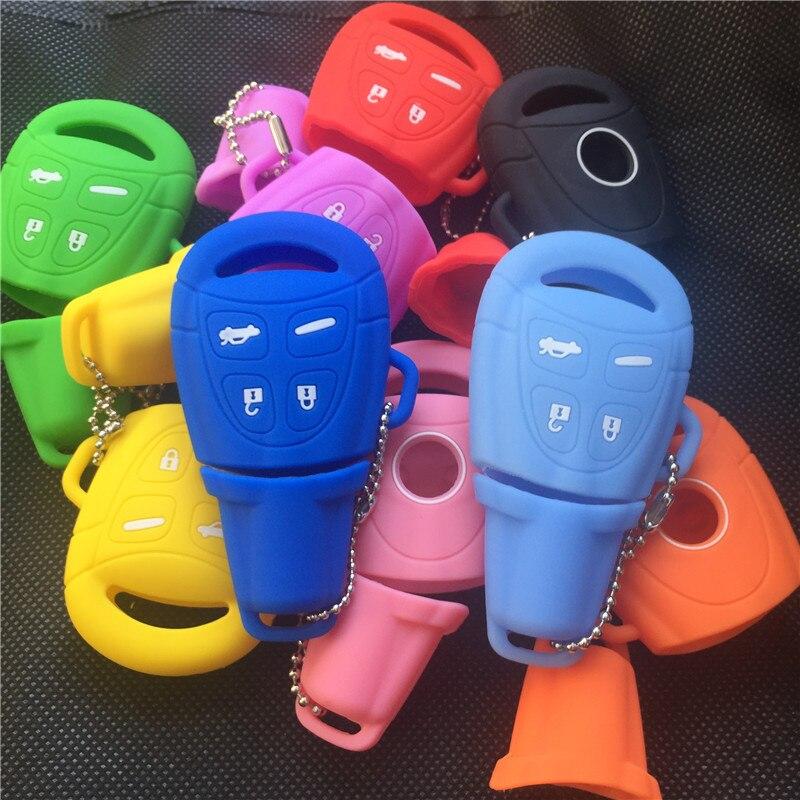 Nouveau 4 Boutons en caoutchouc de silicone cas de clé de voiture shell couverture Pour SAAB 9-3 9-5 93 95 Blanc Clé De Voiture À Distance Shell Fob Couverture De Cas