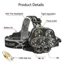 Super Bright Headlamp Outdoor Flashlight 7-LED Headlight Waterproof Head Torch